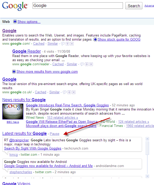 Google Real Time Search 2