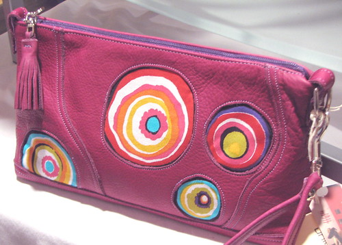 purple leather circles inset wristlet