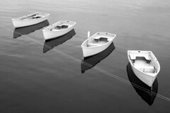 Four rowboats version 2 (nelights) Tags: blackandwhite boats boat rowboat dory dinghy rowboats starisland islesofshoals
