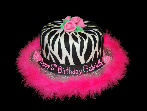 black white and pink zebra 6th birthday cake