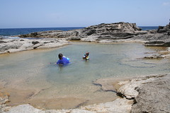 Rock Pool Fun (Ross Drummond) Tags: sea cliff holiday kids children mediterranean ben erin daughter son malta siblings shore snorkling wife snorkle gozo rockpools suky dahletqorrot qorro