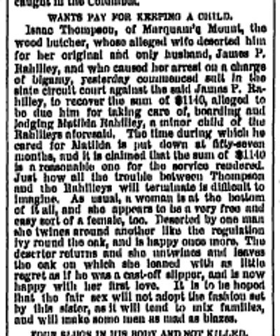 Wants Pay for Keeping a Child April 5 1885