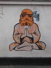 Jedi Stromtrooper Meditates, Orange (Minty Poster) (The Lens of Lucid Frenzy) Tags: art brighton graffiti streetart posters