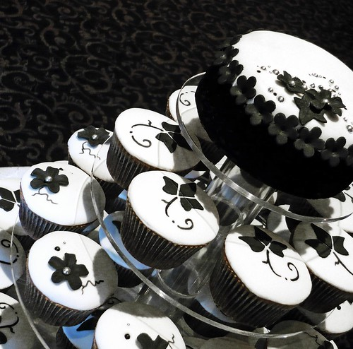 Floral Baroque Wedding Cakes Cupcakes designed to a black and white floral