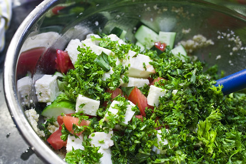 mixing the tabouleh