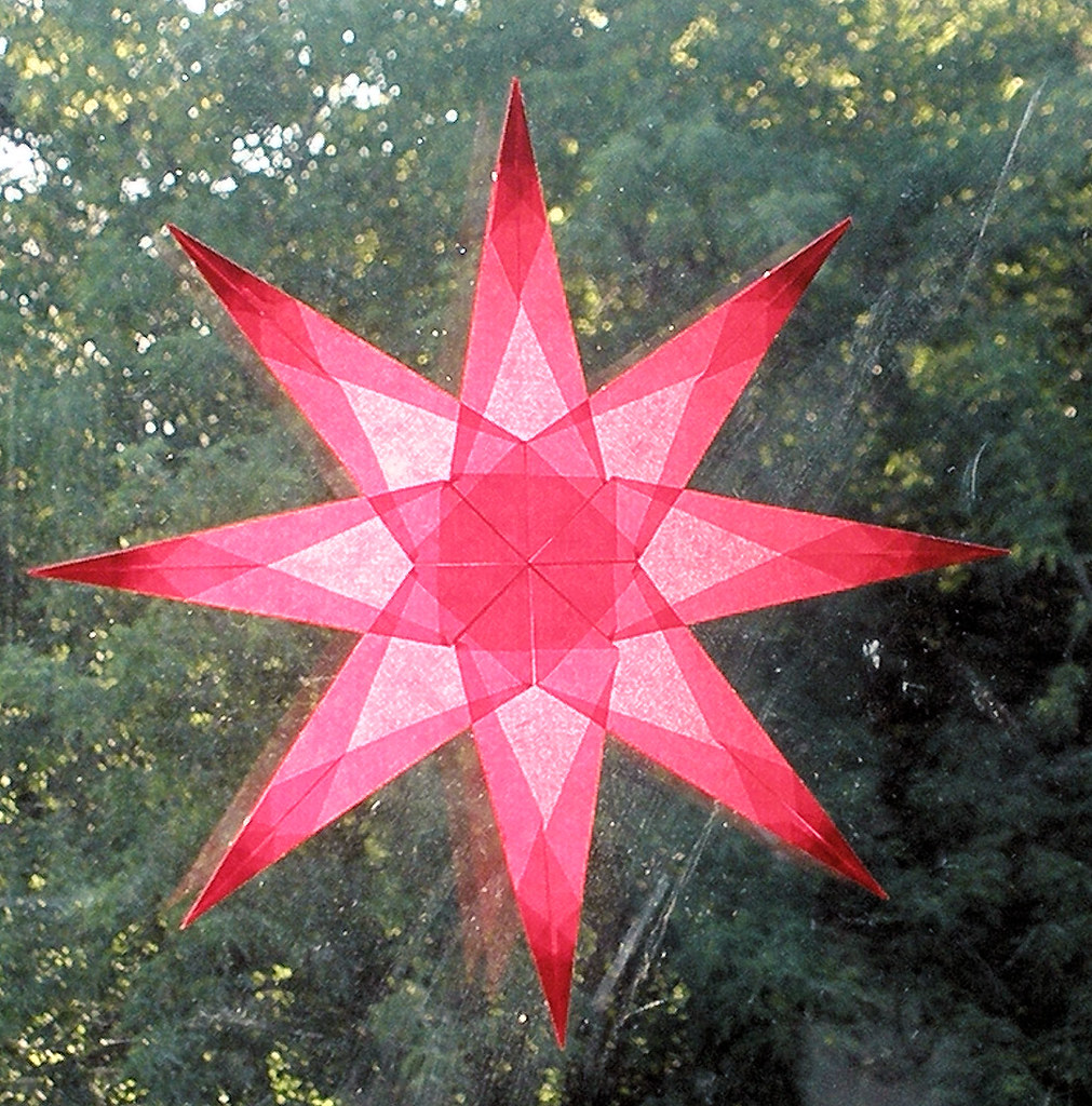 Red Window Star with Sharp Points