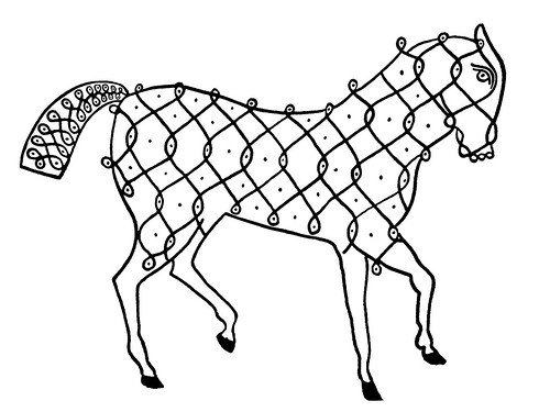 Indian Designs d - horse made from line drawing symbol - clipart