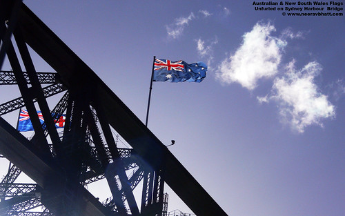 free 1680x1050 wallpaper Australian and NSW Flags Unfurled on Sydney Harbour Bridge