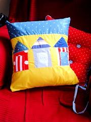 three beach huts in a row cushion cover (aughras lair) Tags: uk holiday handmade sewing etsy beachhuts pillowcover cushioncover