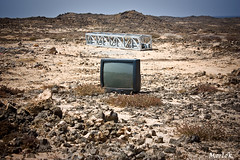 Tv on Mars (Luca Morlok) Tags: summer television canon eos tv spain strada estate desert lanzarote canarias terra canaries 2009 spagna deserto televisione canarie insolito 450d caletadefamara linciviltnellincivilt bastaconlatv stopwithtelevision bastaconiprogrammispazzatura