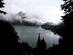 Snow Lake w/Wright Mountain peeking through the clouds