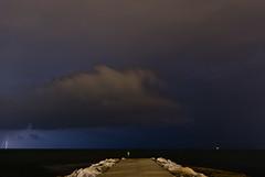 Preludio di fine estate (scarpace87) Tags: sea summer clouds river nuvole mare estate fiume flash fine rimini explore end thunderstorm lightning 404 molo adriatic prelude adriatico temporale thunders preludio lampi fulmini jadransko rivabella marecchia