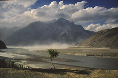 Dust storm, Skardu (petelovespurple) Tags: june1988 skardu slidecopies k2trek
