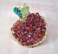Teacher's Apple Pendant - garnet, peridot & ma...