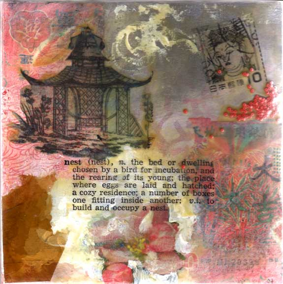 mixed media art by Bronwyn Simons, teacher of creativity and life balance retreats for women