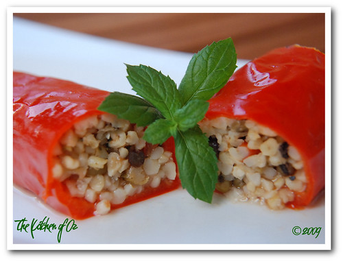 Red Pepper Stuffed with Bulgur and Mung Beans
