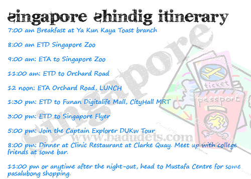 Badets Singapore Shindig 1-day itinerary