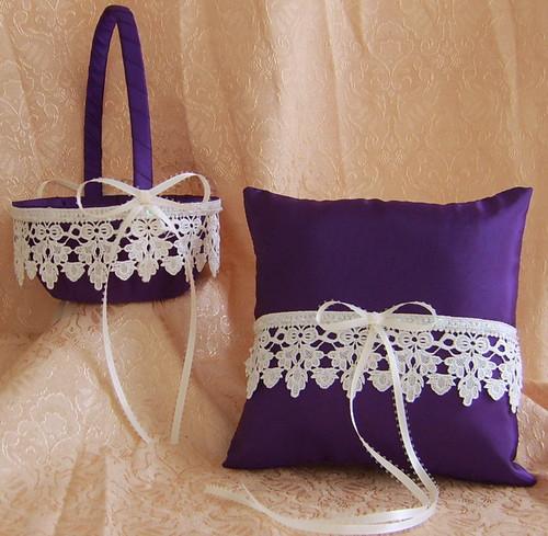 Eggplant, Plum Wedding Flower Girl Basket And Pillow Set