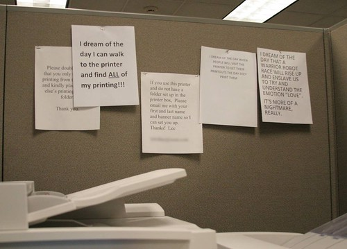 Passiveaggressivenotes.com: the office printer has a dream,