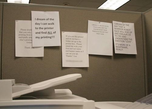 Passiveaggressivenotes.com: the office printer has a dream,