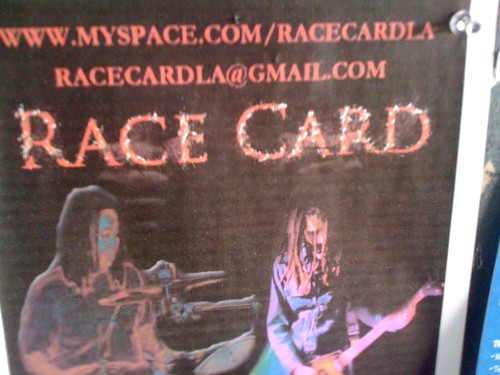 Flier for a band called 'Race Card'