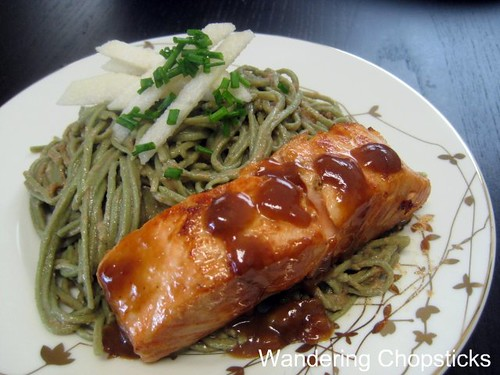 Seared Salmon with White Wine, Miso, and Soy Sauce Glaze