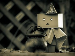 Danbo's a Witch (willycoolpics.) Tags: white black halloween costume witch picnik danbo bestcostumeever revoltech danboard notthebestcostume