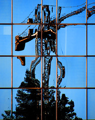 Oh Maggie, don't drink too much! - Gallarate (dolomitico) Tags: city morning blue sky italy building glass reflections mirror crane steel varese gallarate letorri 21013gallarate dolomiticoluca
