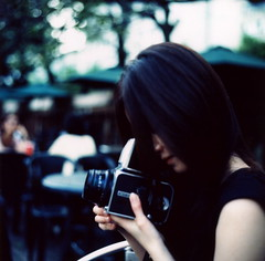 (mika-rin) Tags: summer 6x6 girl mediumformat square cafe friend meetup kayo kiev60