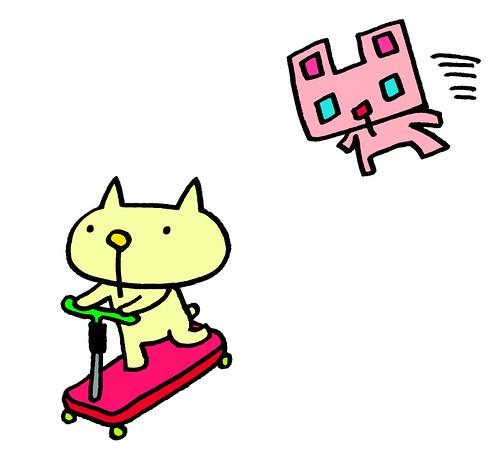 キックボードに乗るむー