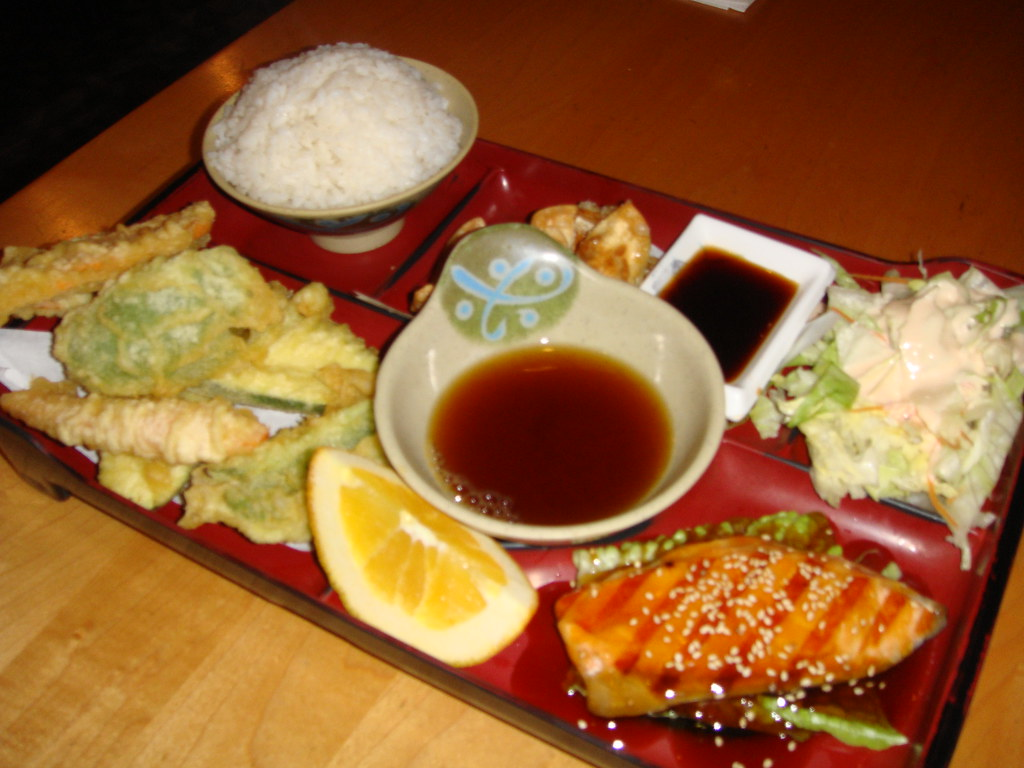 Vegetable Tempura and Salmon Teriyaki Box