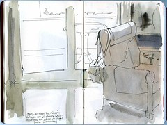 At home 02 (freekhand) Tags: home ink watercolor balcony armchair waterbrush