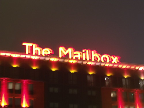 The Mailbox at night - the sign