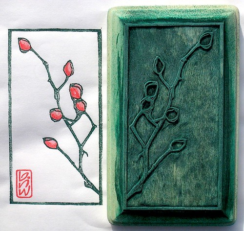 Rose hips Print & Block  (better photo)