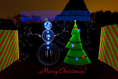 Have a Light Painted Merry Christmas Everyone! (TxPilot) Tags: christmas light snow lightpainting cold tree painting snowman stencil nikon paint orb led lap ornaments merry d200 cathode lightart arduino lightpaint lightstrip lightartphotography arduinomega hl1606 programmablelightstrip rgbledaddressable digitallightwand