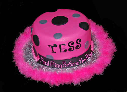 Hot Pink Black and Silver Bachelorette Cake