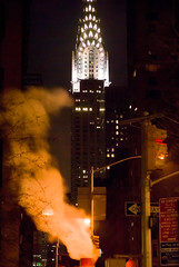 _DSC7246 (dweidl) Tags: street city newyorkcity newyork streets building night buildings lights downtown smoke steam midtown chrysler chryslerbuilding manhatten