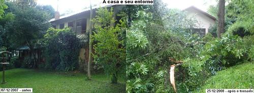 A casa e entorno antes e apos tornado