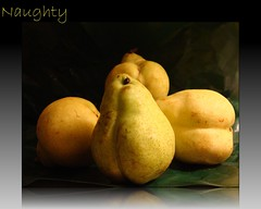 Pear-Y (SALLYANNE0852) Tags: summer reflection yellow fruit frames pears text shapes newengland picnik naughtybynature