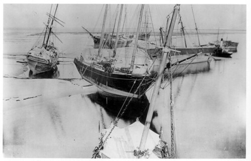 Various disabled ships, aground after the hurricane of 1899: Dog Island, Florida