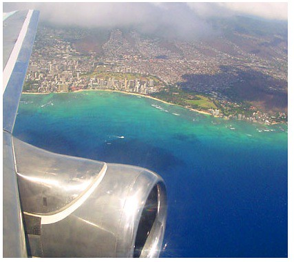 Airplane view of waikiki