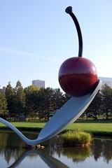 Spoonbridge & Cherry (2008) (jpellgen) Tags: autumn sculpture usa art fall minnesota america garden cherry pond nikon october midwest minneapolis spoon center walker 1855mm nikkor 2008 mn coosjevanbruggen spoonbridgecherry d40 claesoldenburgh