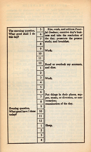 Benjamin Franklin's daily schedule by nickbilton