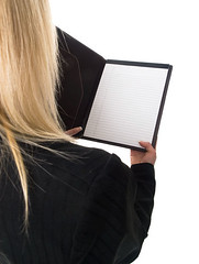 businesswoman - reading notepad (dgilder) Tags: people woman usa black female austin person reading pretty texas business whitebackground blonde studioshot rearview lookingdown isolated overtheshoulder caucasian officeworker welldressed businesswoman pantsuit lookingover midadultwomen isolatedonwhite dgf14