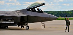 RAPTOR STEALTH PILOT (thomassylthe) Tags: nikon technology aircraft military raptor stealth smokin usairforce fighterjet nikkor300mm rockfordairfest stealthpilot