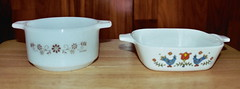 Dynaware and Corning Ware - *ONE FOR TRADE* (Pictorial Life) Tags: thrift trade corningware countryfestival browndaisy pyrorey dynaware countryfestivalpetitepan