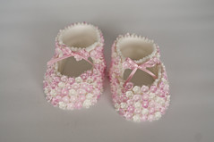 Pink Blossom Booties (Sweet Tiers) Tags: pink baby shoes hand blossoms made christening booties topper shoesbooties