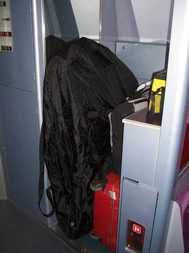 A bagged bike fits neatly into the baggage area of a TGV. Photo: Martin Q