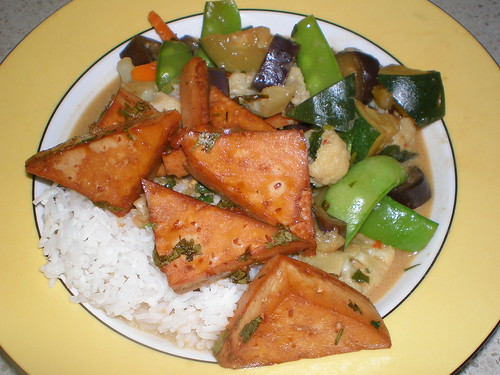 Thai Vegetable Stew; Baked Tofy Triangles; Jasmine Rice with Coconut; Mint, Orange and Red Onion Salad (not pictured)