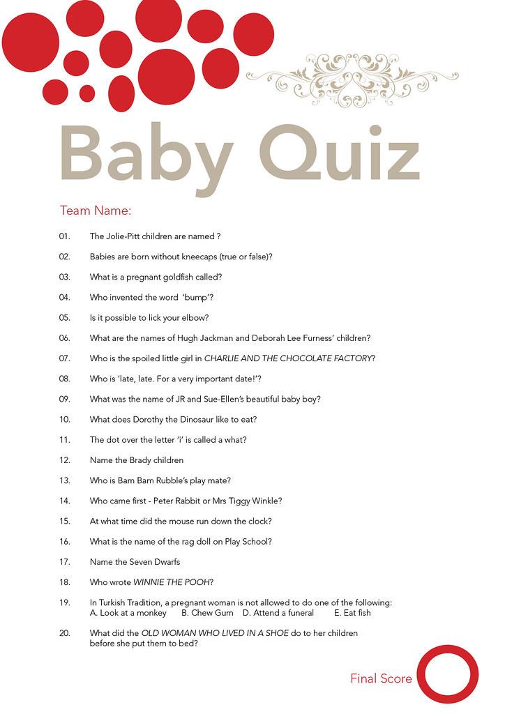 Baby Shower Quiz